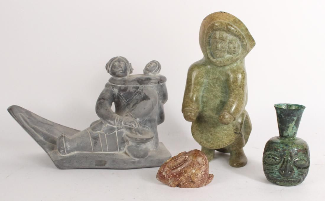 Two Carved Stone Inuit Sculptures