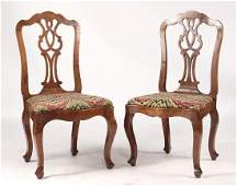 Pair of Provincial George III Walnut Side Chairs