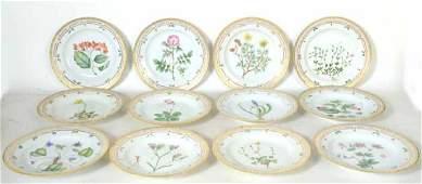 Twelve Flora Danica Porcelain Dinner Plates