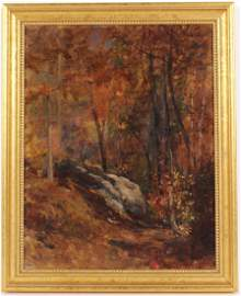 Oil on Canvas, Woods Landscape, Louis C. Tiffany