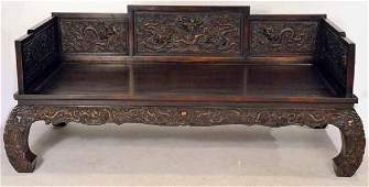 Chinese Carved Hardwood Daybed