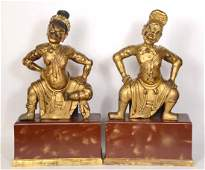 Pair Carved Giltwood Figural Temple Guardians
