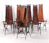 Eight Custom Cast-Iron and Leather Dining Chairs