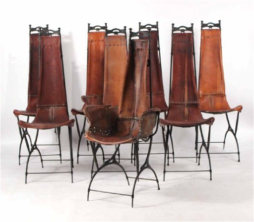 Phenomenal Eight Custom Cast Iron And Leather Dining Chairs Machost Co Dining Chair Design Ideas Machostcouk