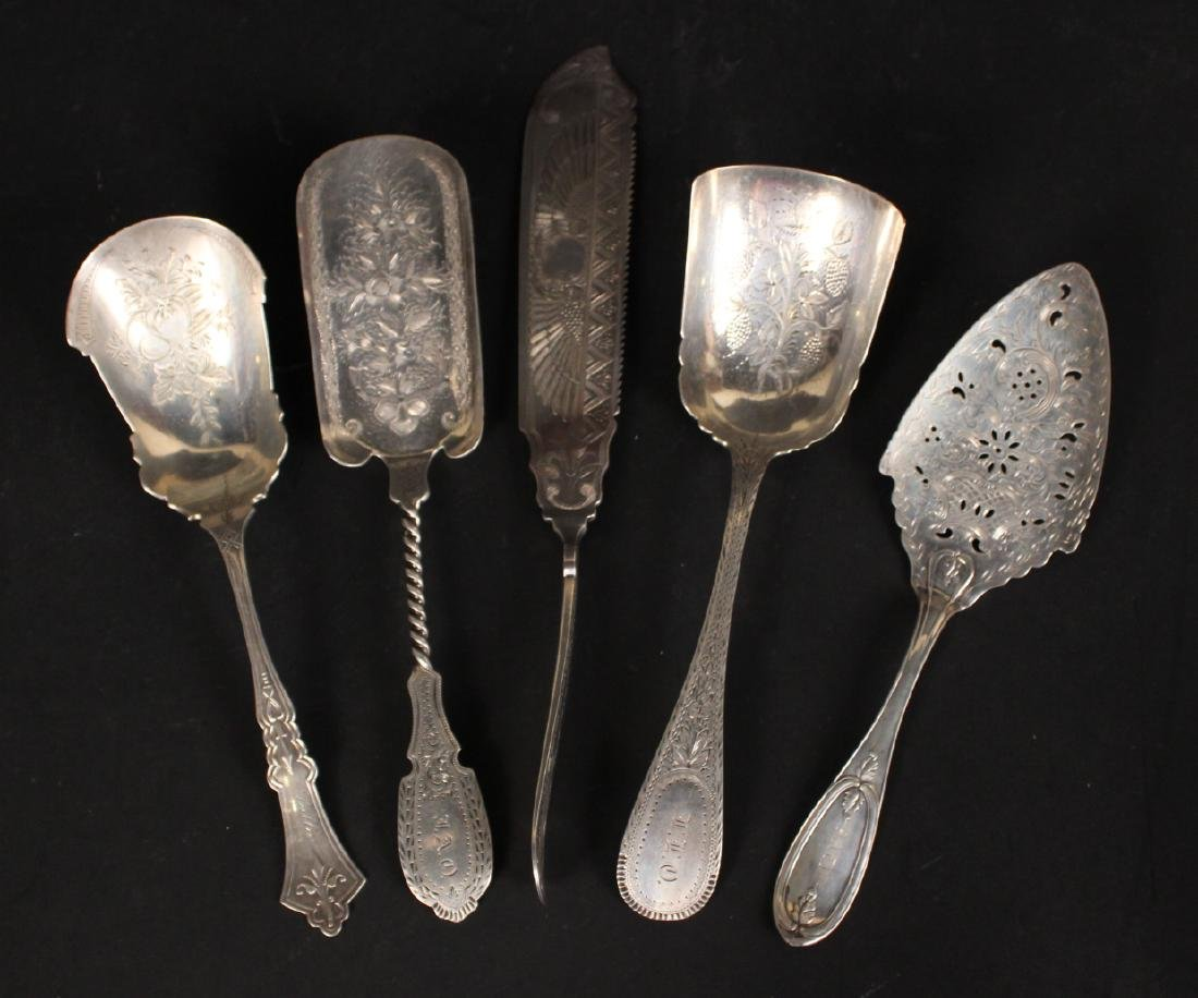 Four Victorian Silver Flatware Serving Pieces