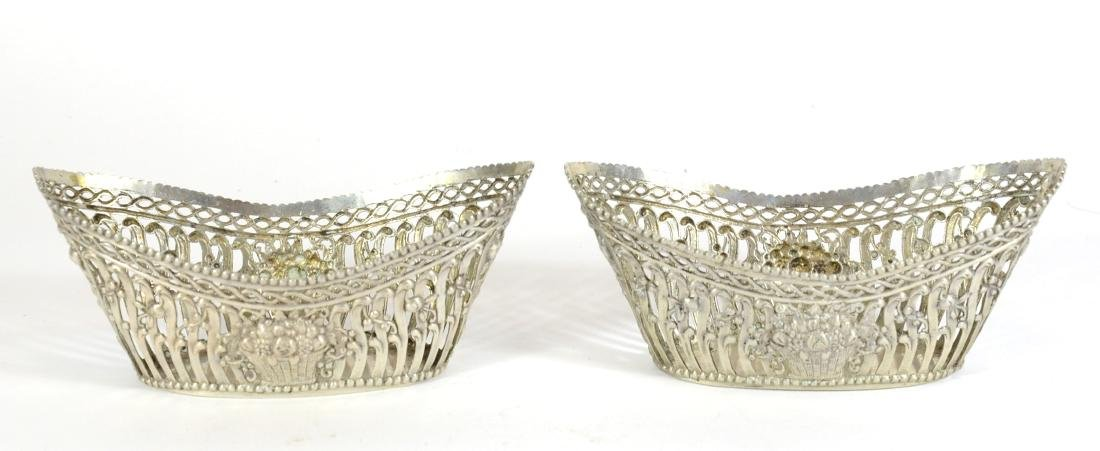 Pair of Continental Silver Oval Baskets - 2
