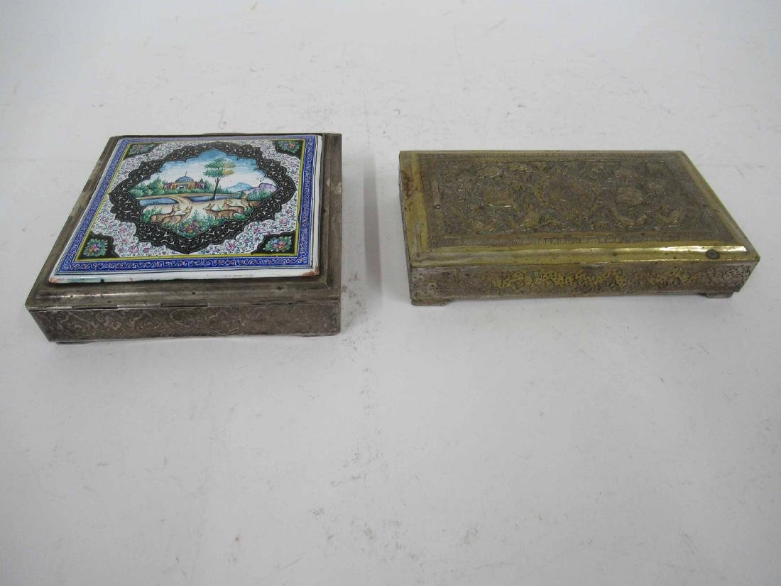 Two Iranian Silver Plate Boxes