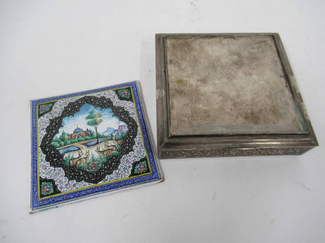 Two Iranian Silver Plate Boxes - 3