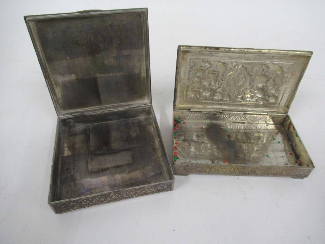 Two Iranian Silver Plate Boxes - 5