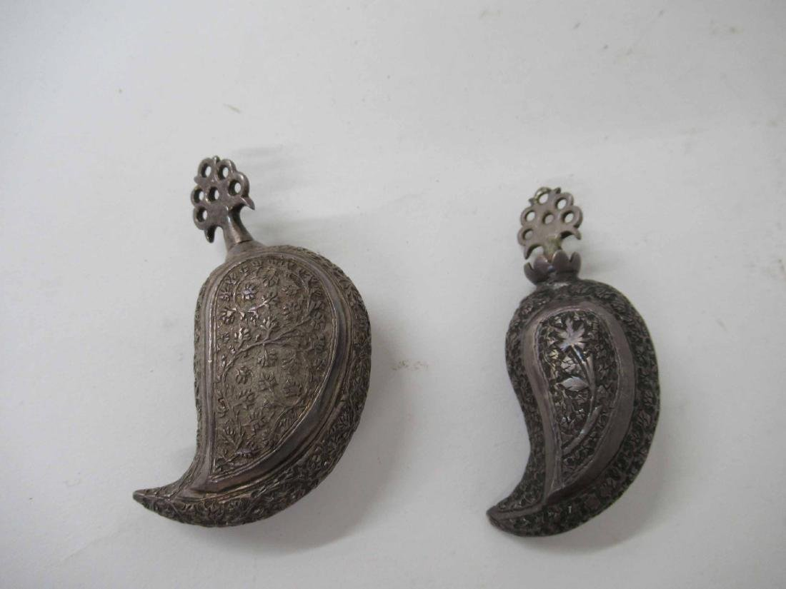 Two Iranian Silver Snuff Bottles