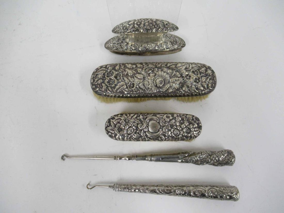 Three Piece Sterling Silver Handled Grooming Set