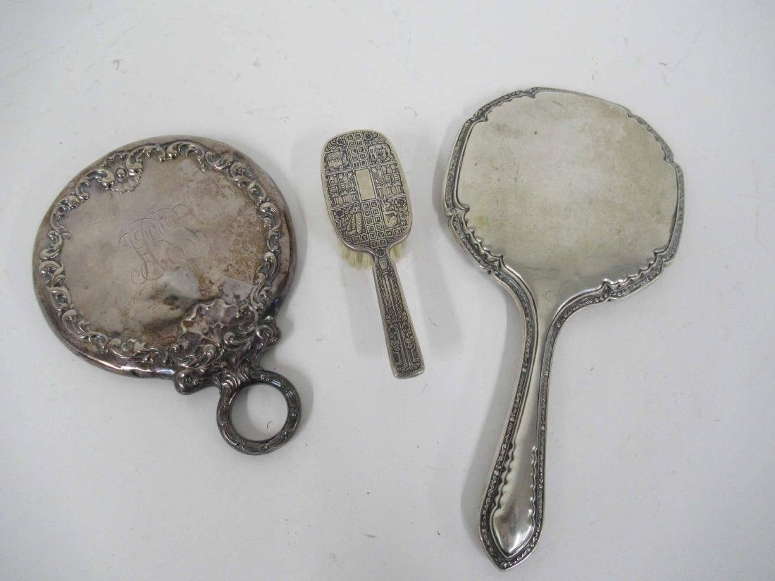 Sterling Silver Handled Hand Mirror & Baby Brush