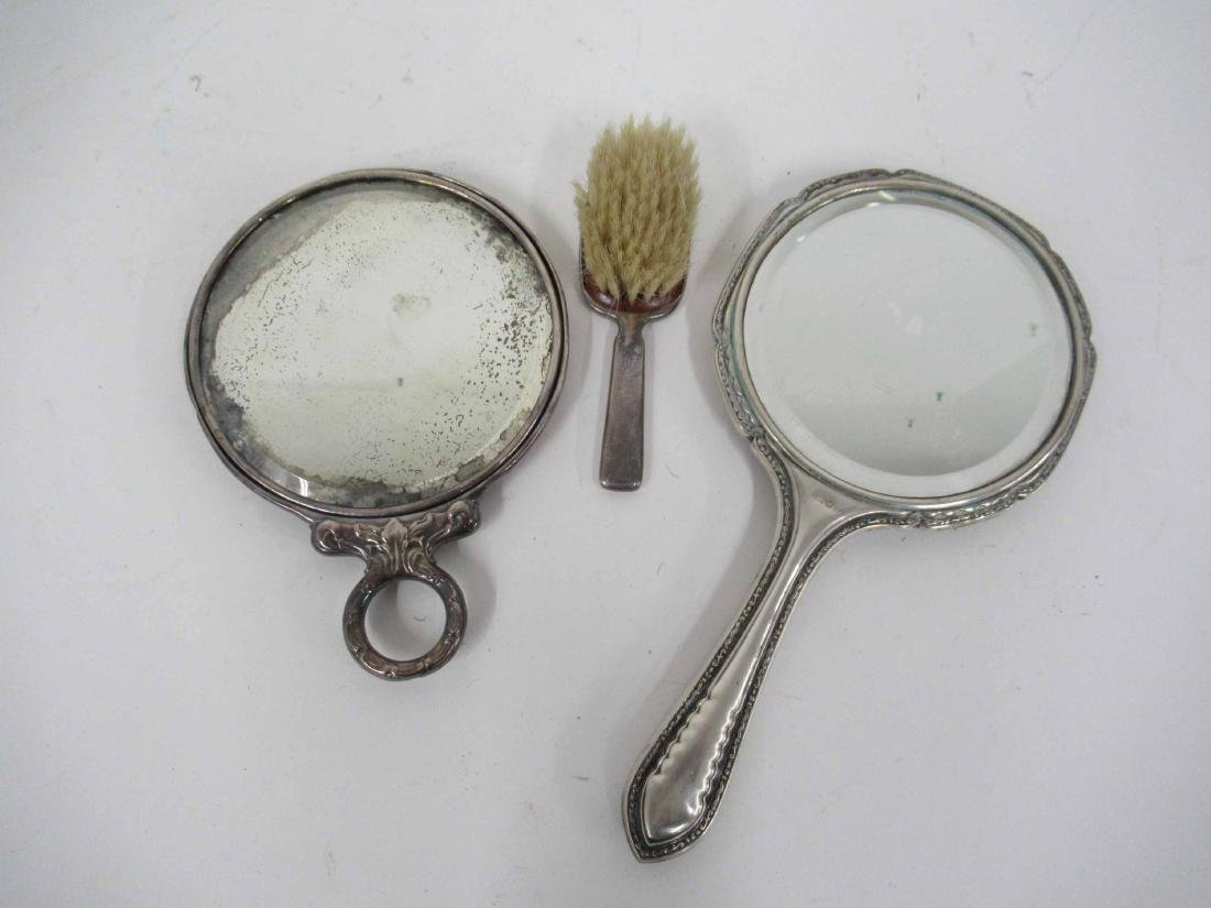 Sterling Silver Handled Hand Mirror & Baby Brush - 4