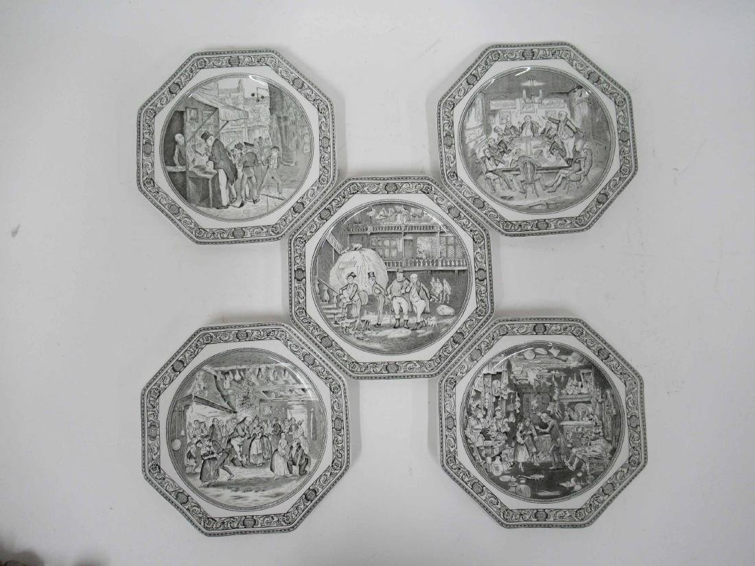Five English Ironstone Charles Dickens Plates