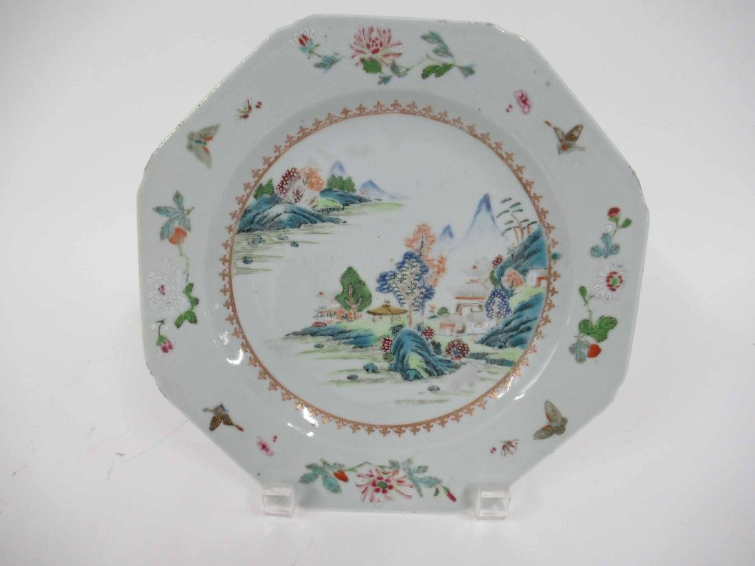 Two Chinese Porcelain Octagonal Plates