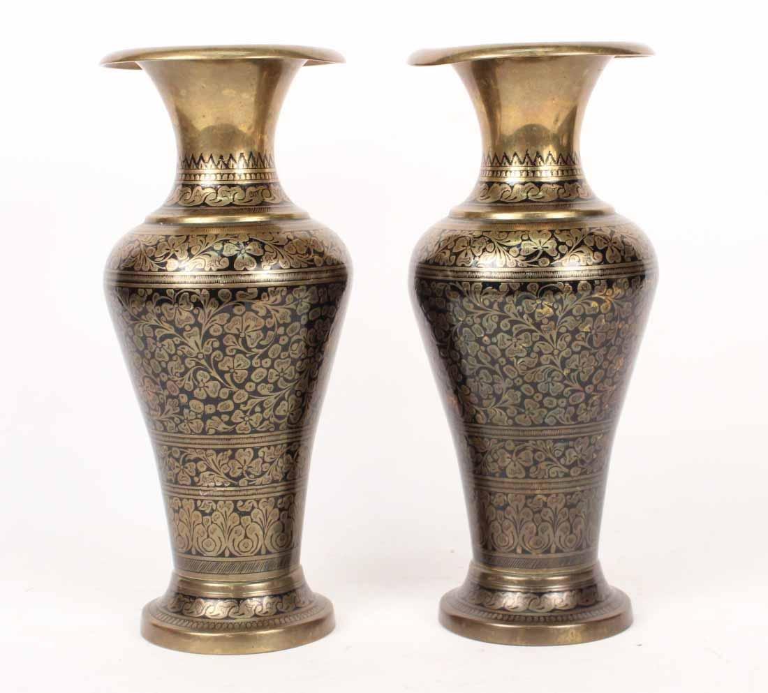 Pair of Black-Enamel Decorated Brass Urns