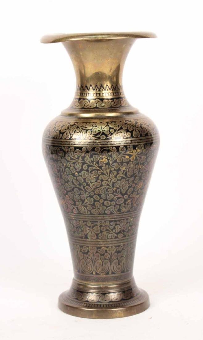 Pair of Black-Enamel Decorated Brass Urns - 2