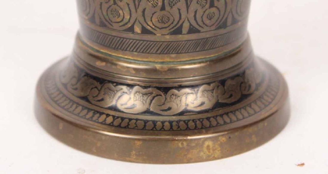 Pair of Black-Enamel Decorated Brass Urns - 3