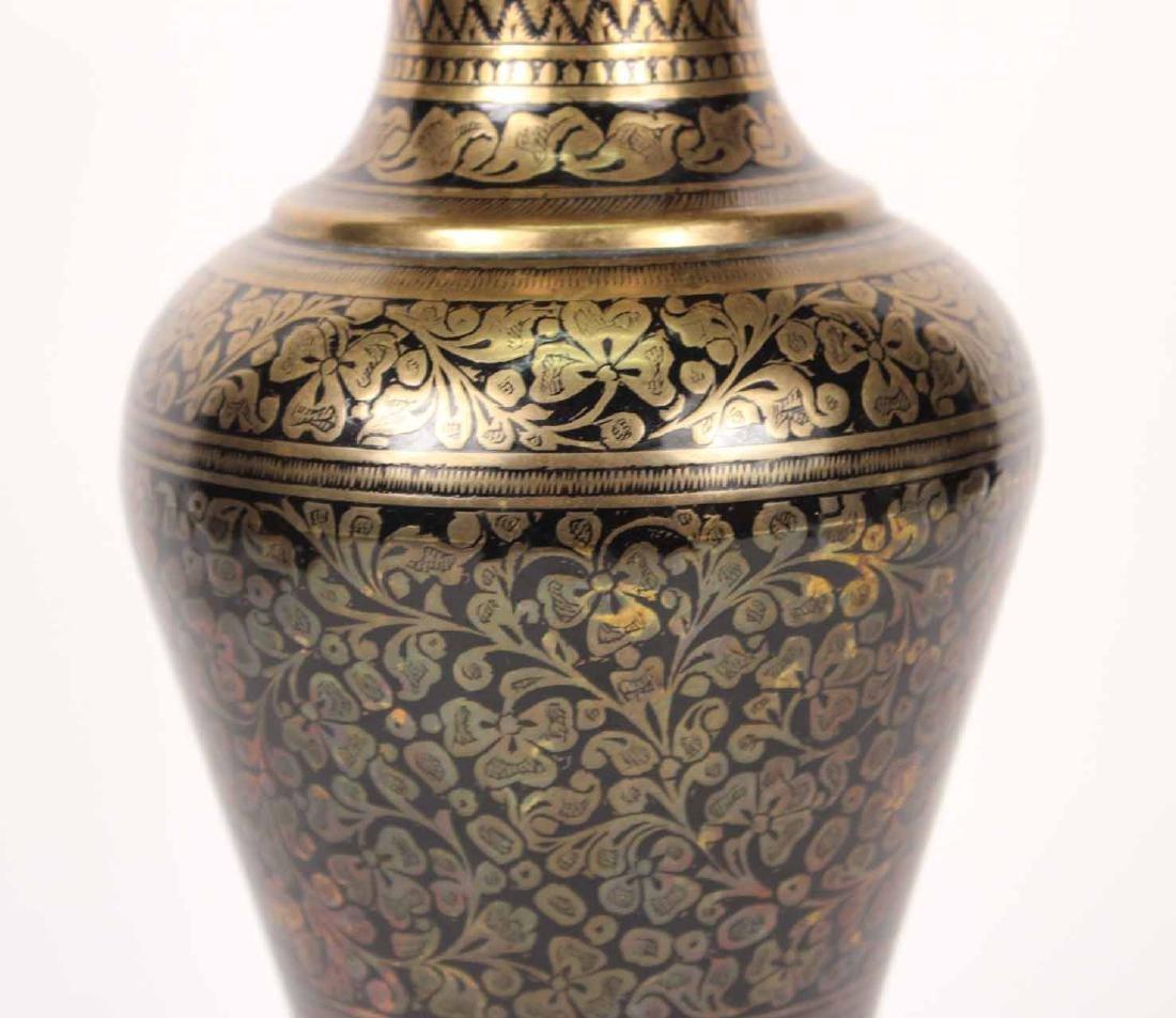 Pair of Black-Enamel Decorated Brass Urns - 4
