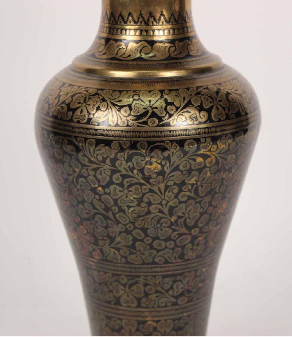 Pair of Black-Enamel Decorated Brass Urns - 7