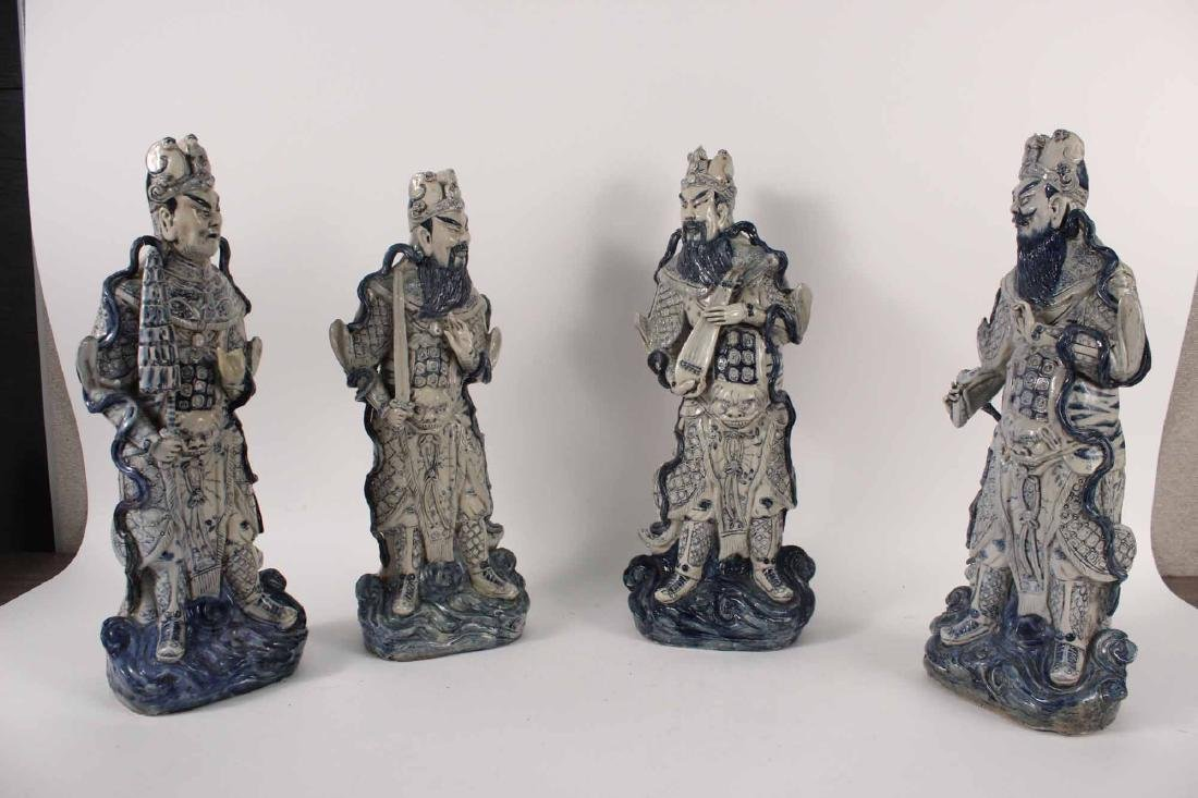 Four Chinese Blue and White Porcelain Figures