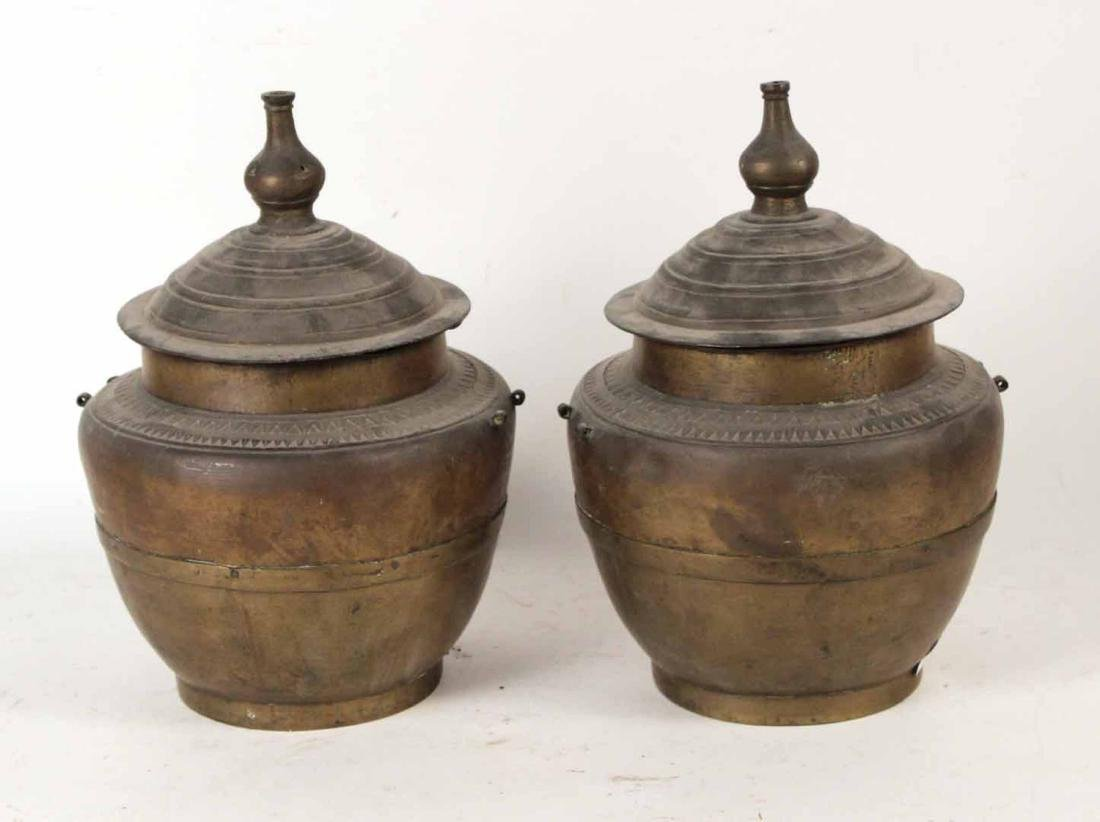 Two Chinese Brass Covered Pots