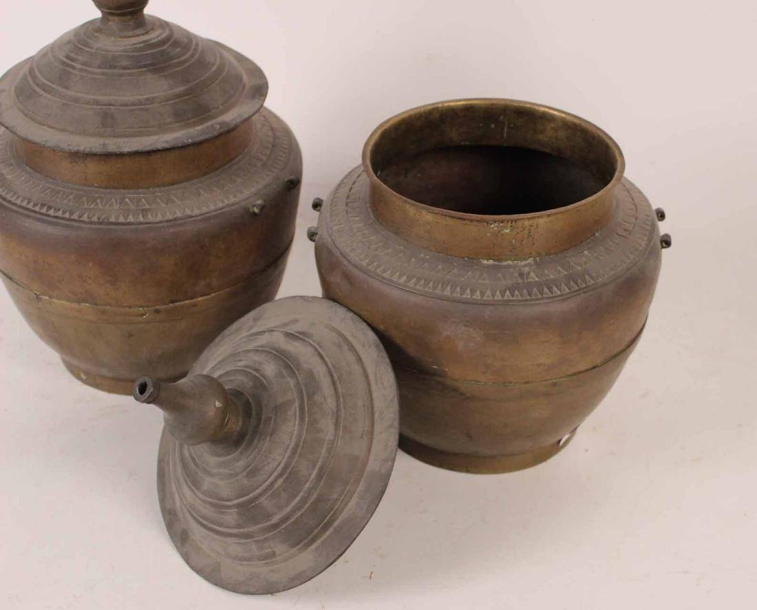 Two Chinese Brass Covered Pots - 2