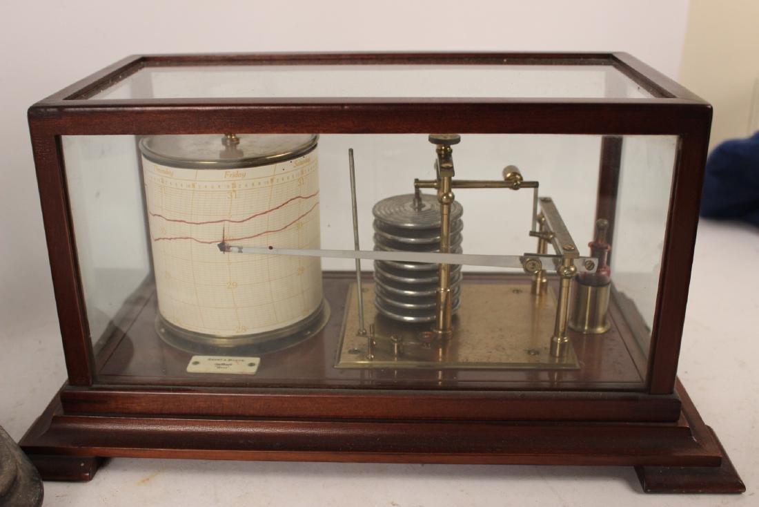 Short & Mason Mahogany Aneroid Barometer - 2