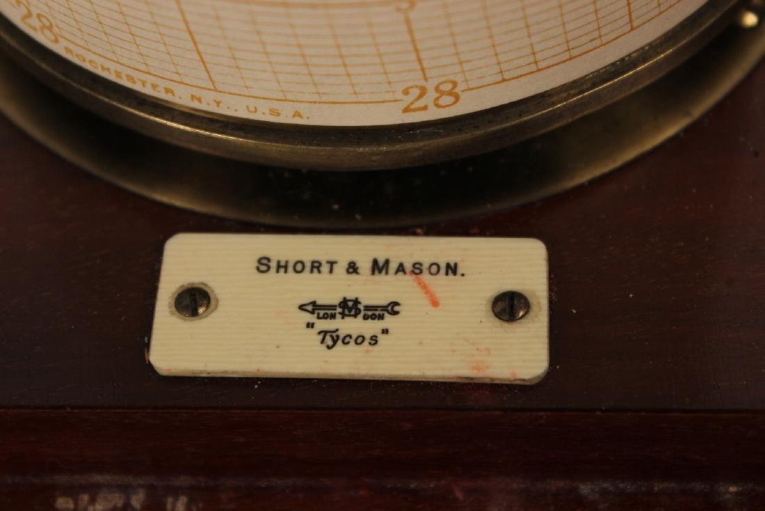 Short & Mason Mahogany Aneroid Barometer - 4