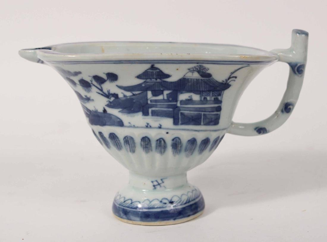 Chinese Export Blue and White Glazed Sauce Boat
