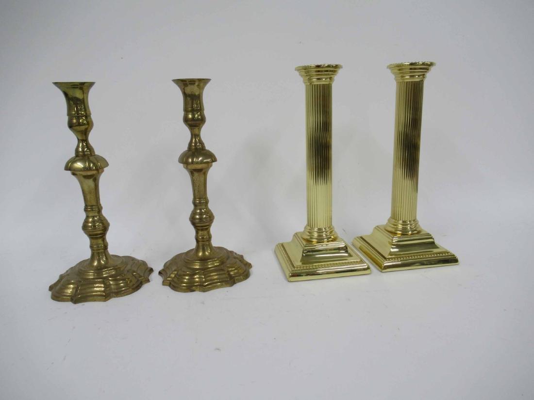 Two Set of Brass Candlesticks