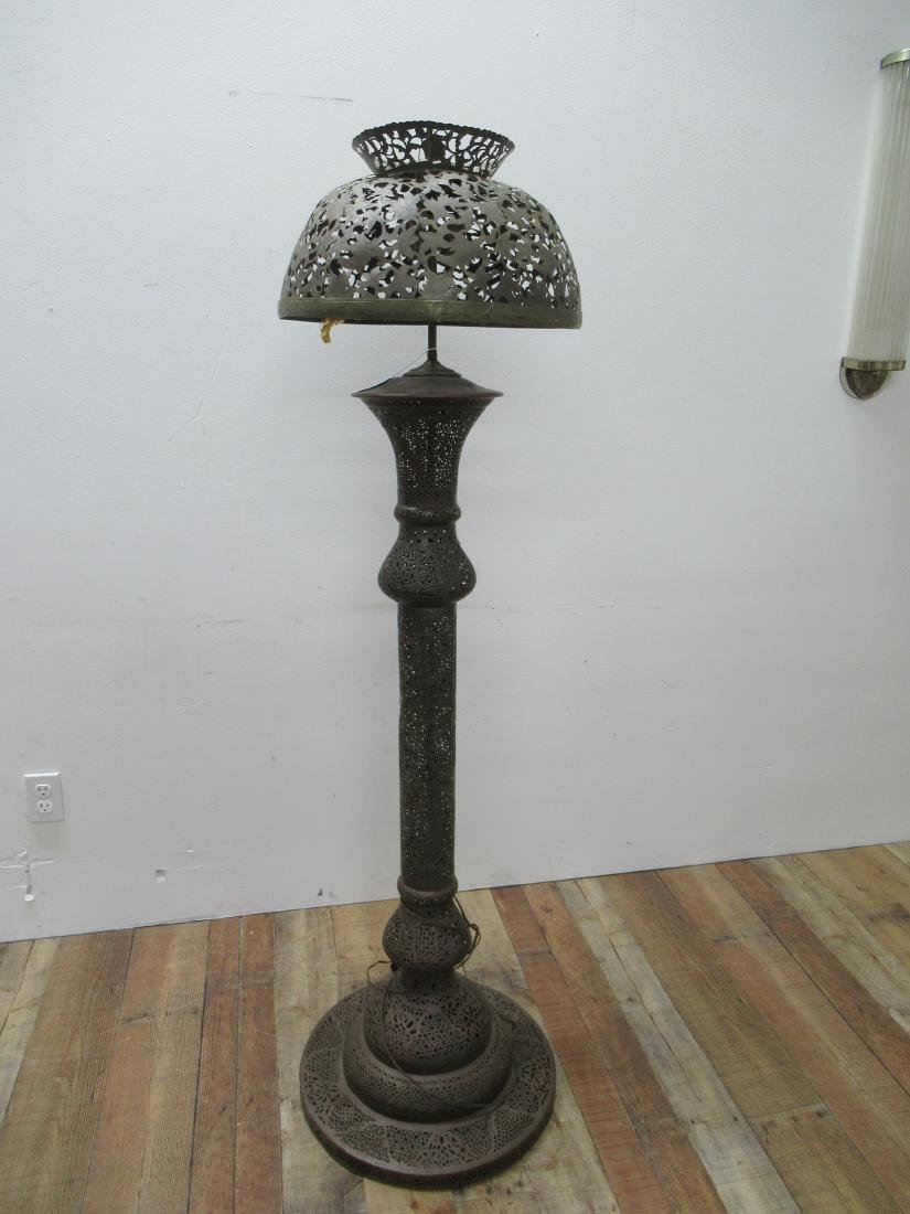 Moorish Style Pierced Brass Floor Lamp