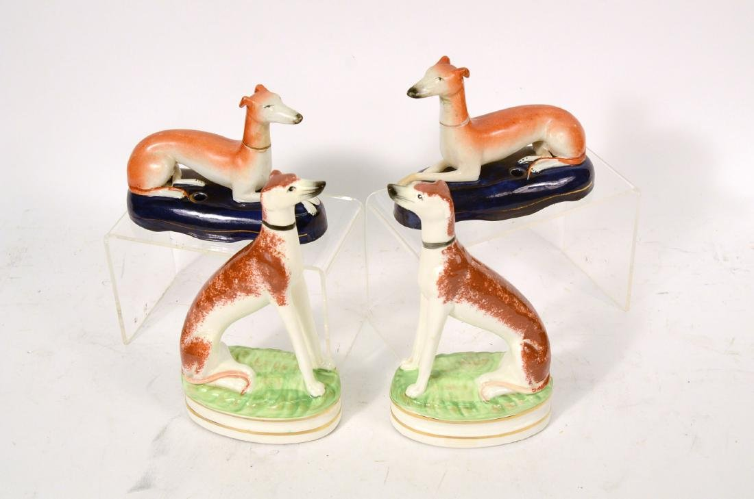 Pair of Staffordshire Recumbent Whippets