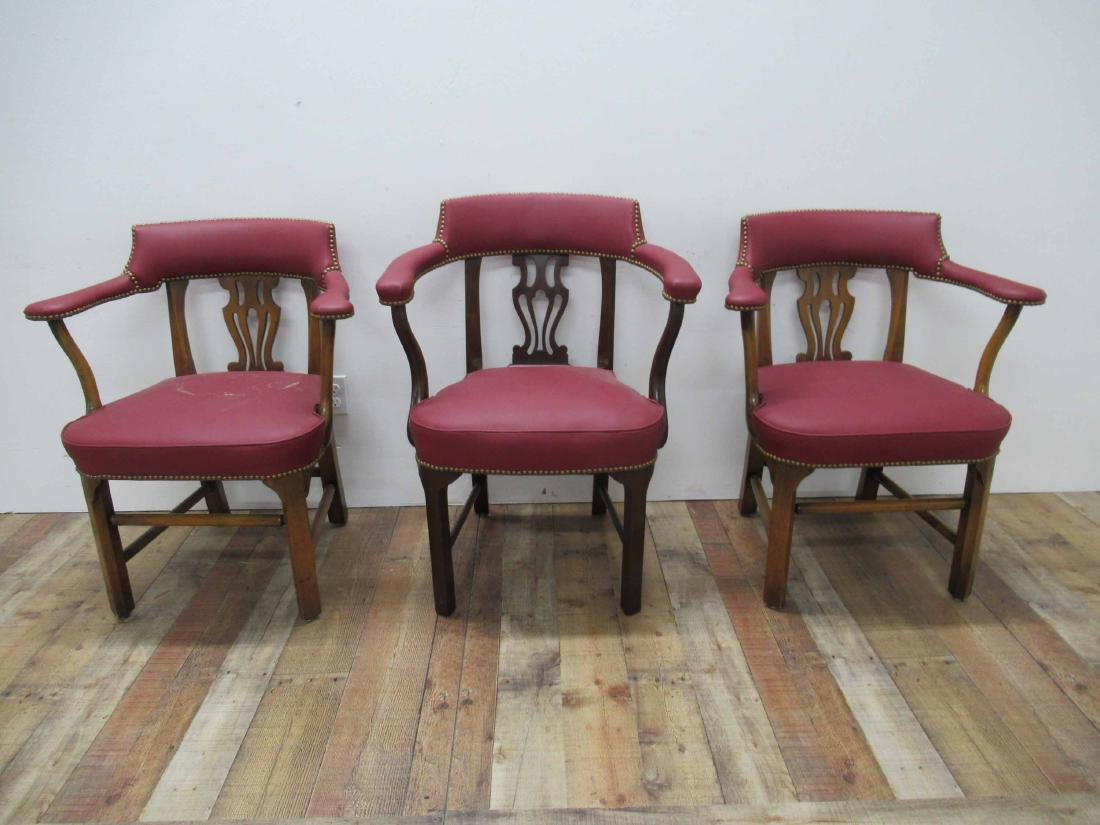 Pair of Oak & Red Faux Leather Arm Chairs