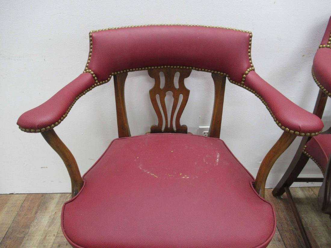 Pair of Oak & Red Faux Leather Arm Chairs - 2