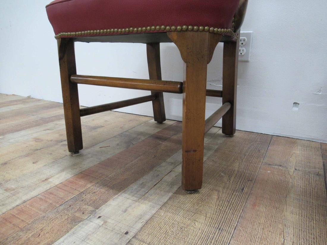 Pair of Oak & Red Faux Leather Arm Chairs - 4