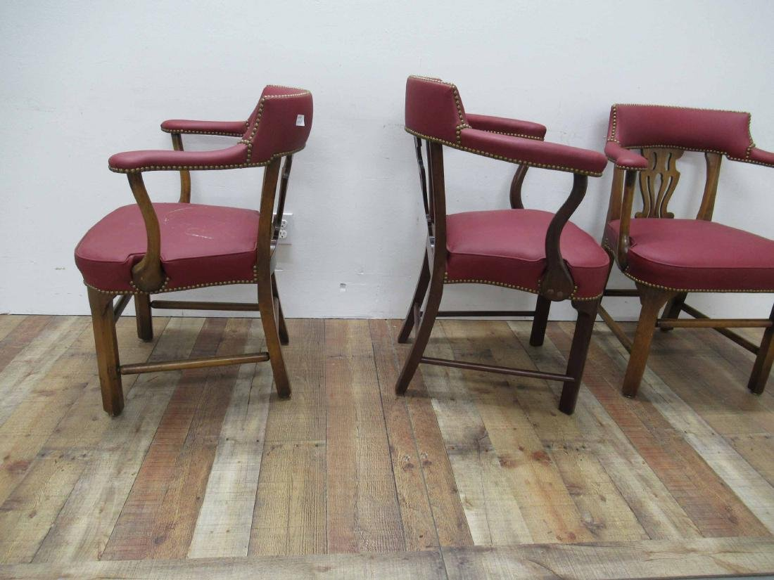 Pair of Oak & Red Faux Leather Arm Chairs - 6