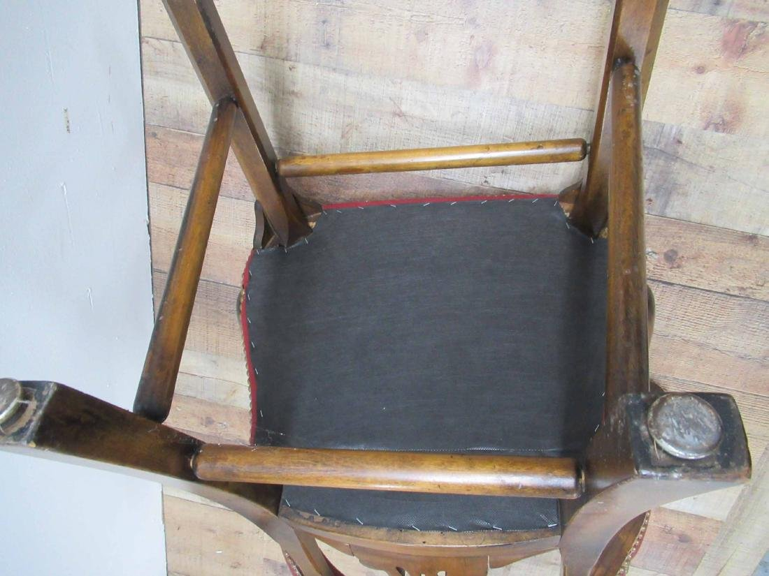 Pair of Oak & Red Faux Leather Arm Chairs - 7