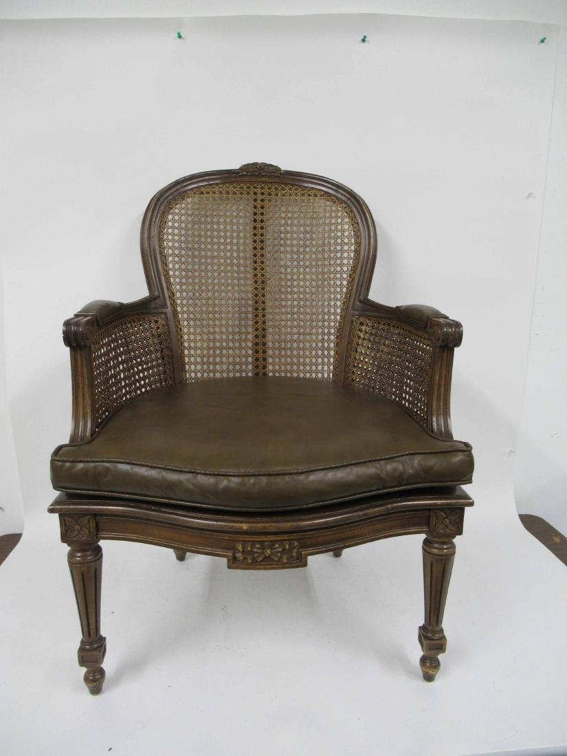 Pair Louis XVI Style Caned and Faux Leather Arm Chair