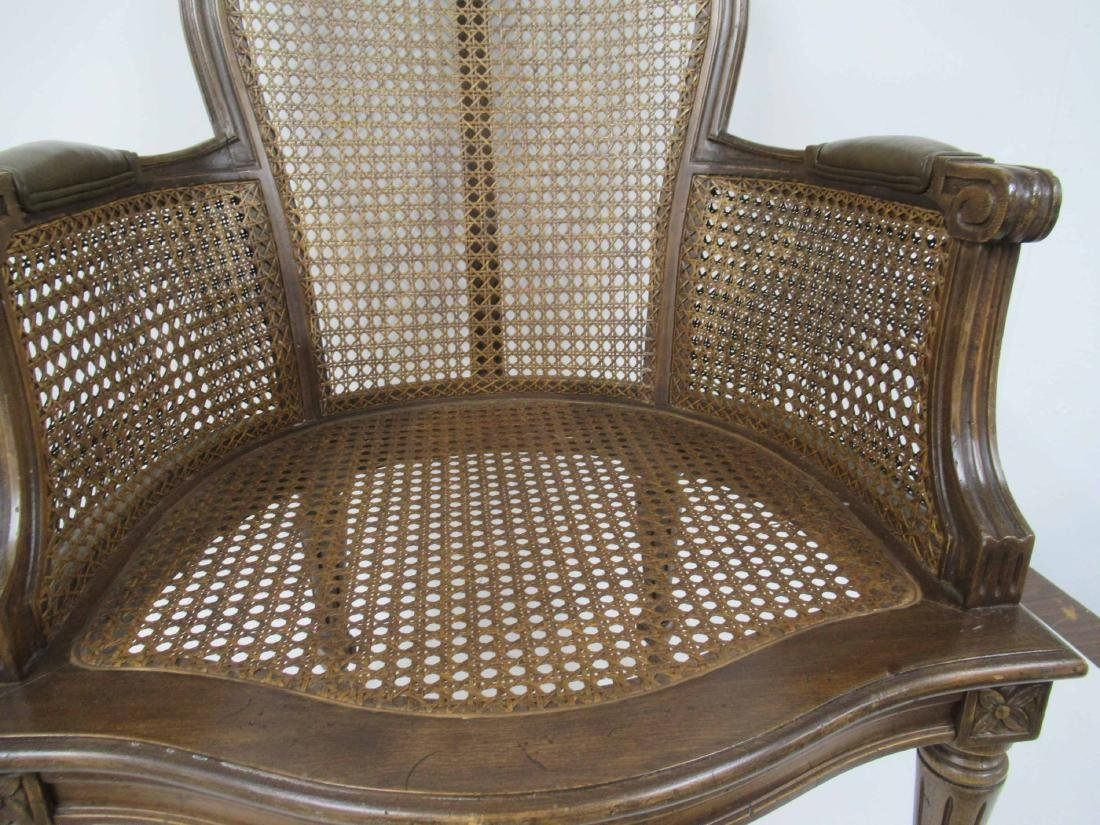 Pair Louis XVI Style Caned and Faux Leather Arm Chair - 4