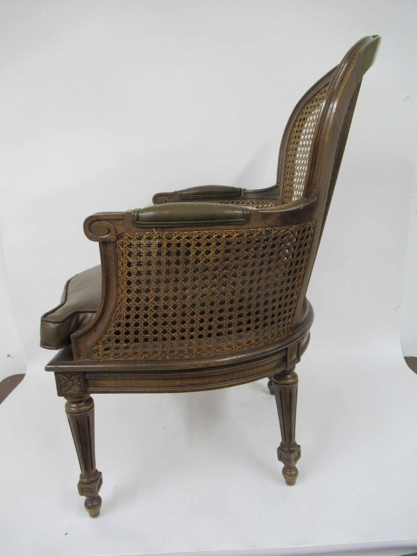 Pair Louis XVI Style Caned and Faux Leather Arm Chair - 6