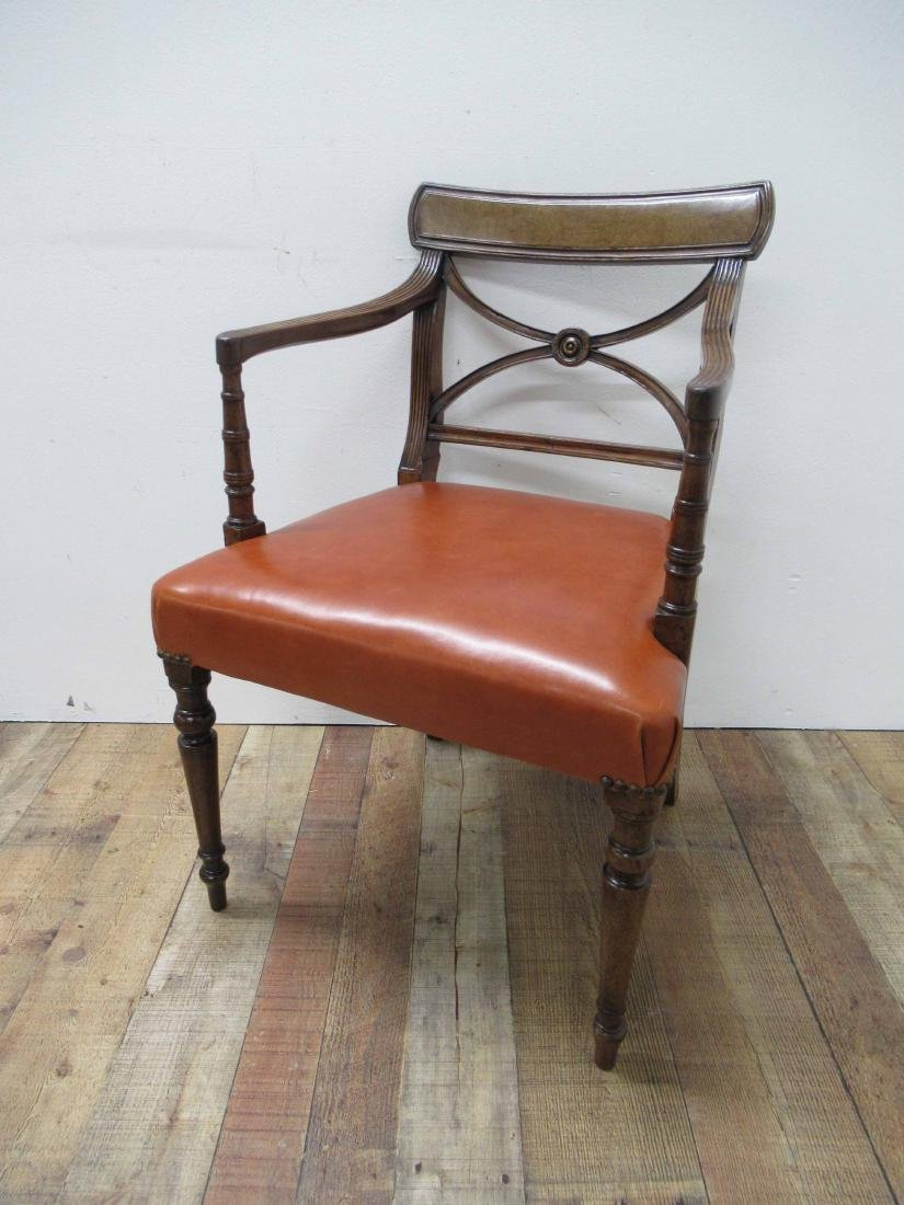 Regency Style Mahogany & Leather Arm Chair