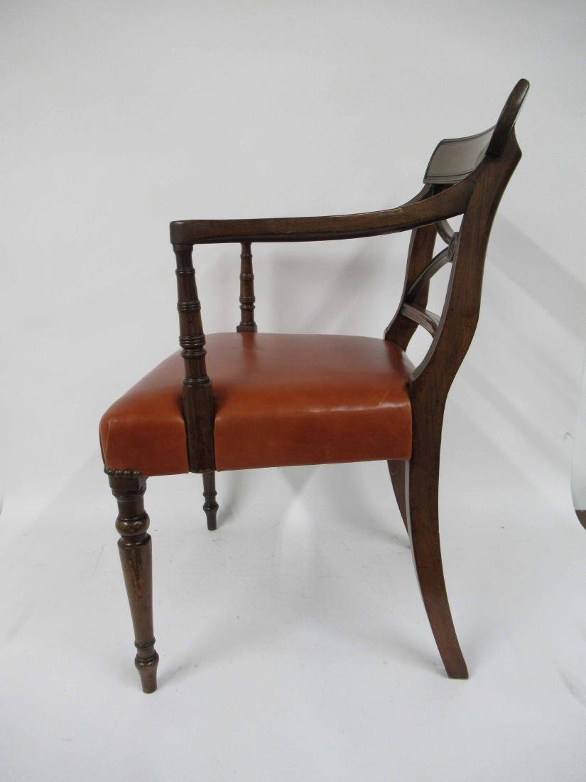 Regency Style Mahogany & Leather Arm Chair - 2