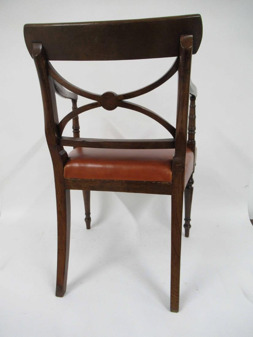 Regency Style Mahogany & Leather Arm Chair - 3
