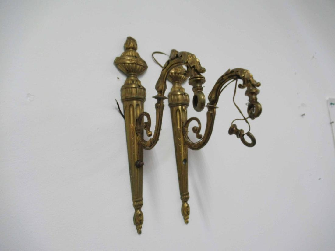 Pair of Neoclassical style Bronze Wall Sconces
