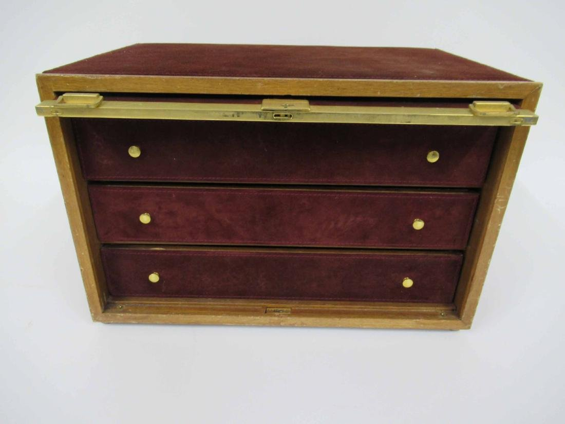 Mark Cross Mens Jewelry Box in Leather 7 Brass