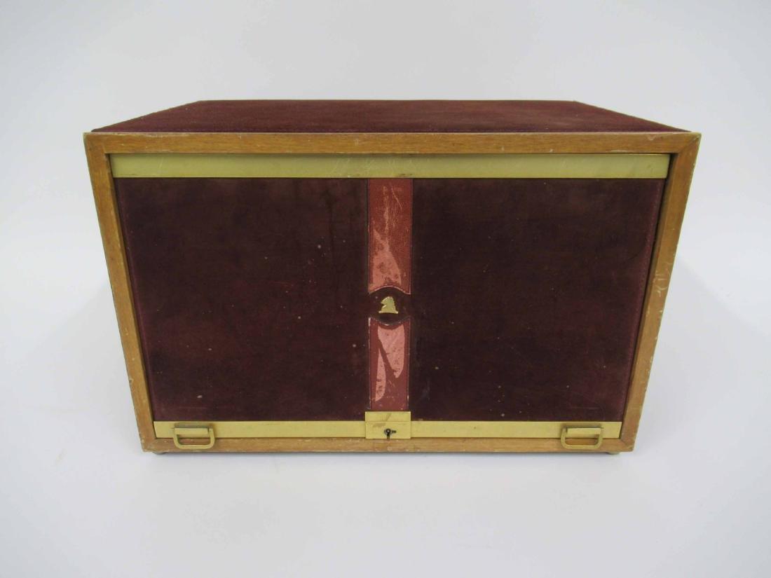 Mark Cross Mens Jewelry Box in Leather 7 Brass - 2