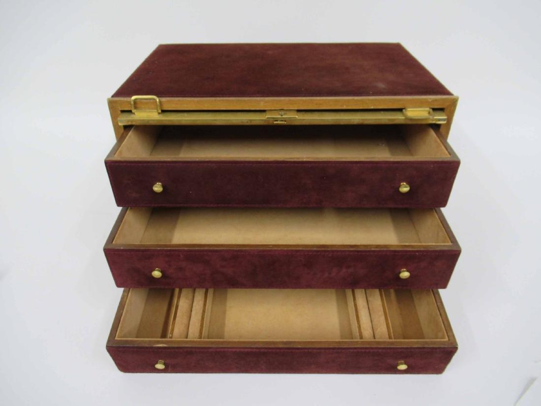 Mark Cross Mens Jewelry Box in Leather 7 Brass - 3