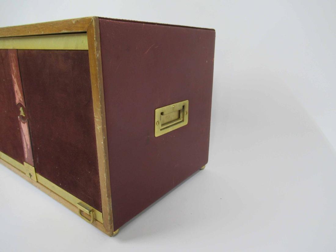 Mark Cross Mens Jewelry Box in Leather 7 Brass - 4