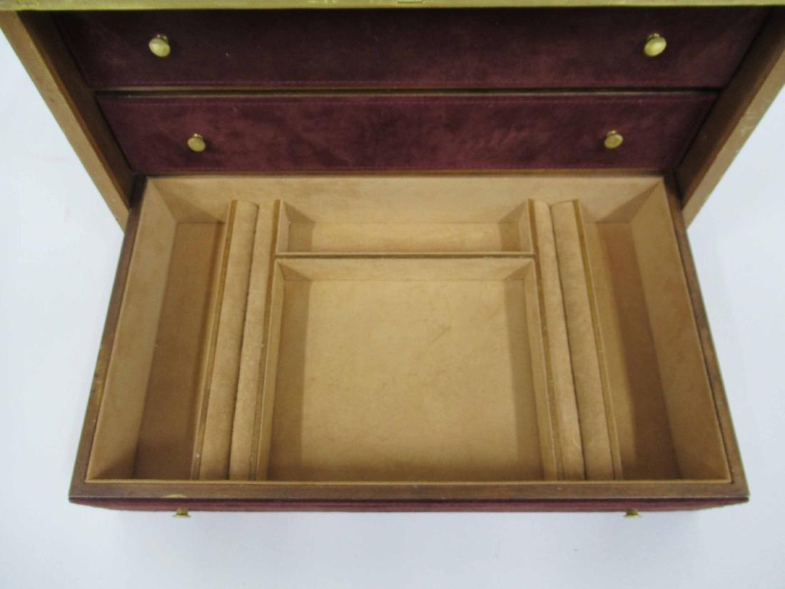 Mark Cross Mens Jewelry Box in Leather 7 Brass - 7
